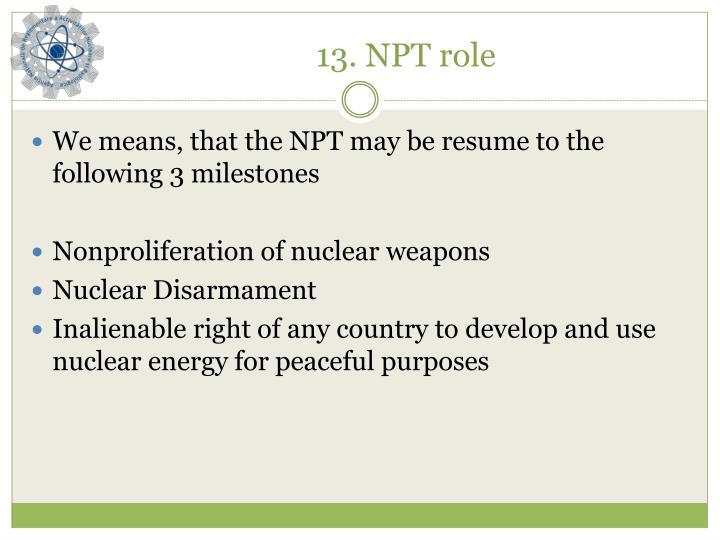 13. NPT role