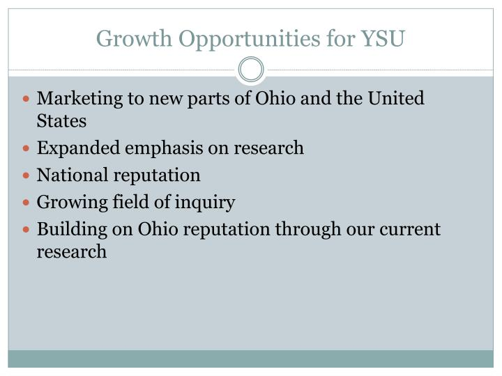 Growth Opportunities for YSU