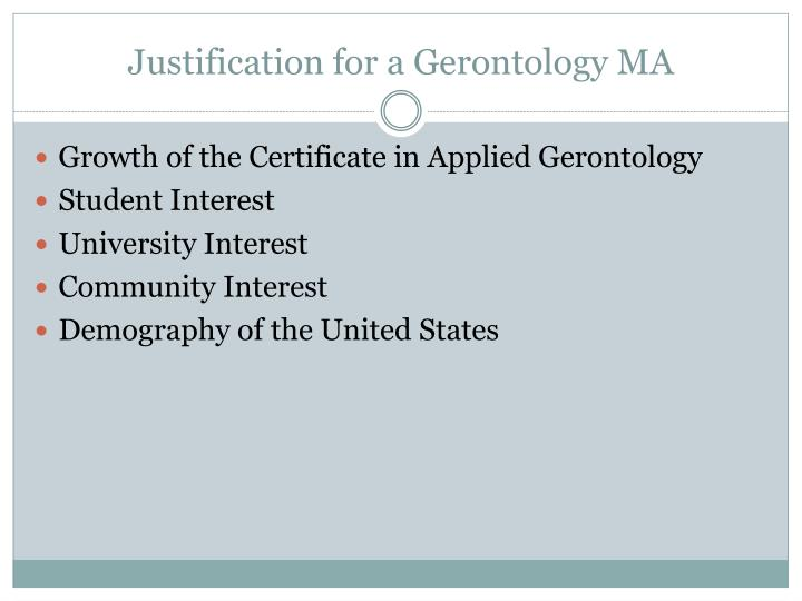Justification for a Gerontology MA