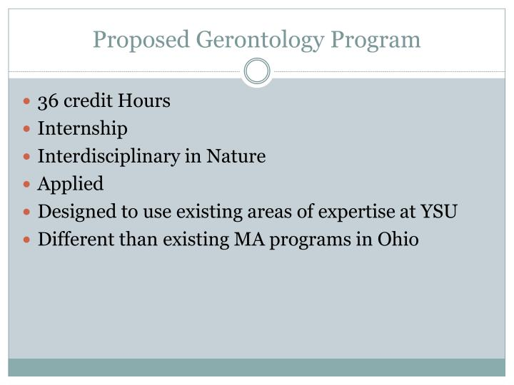 Proposed Gerontology Program
