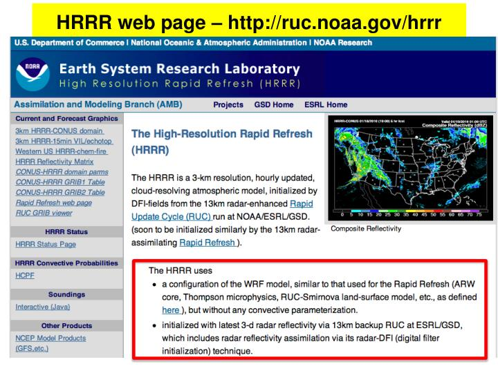 HRRR web page – http://ruc.noaa.gov/hrrr