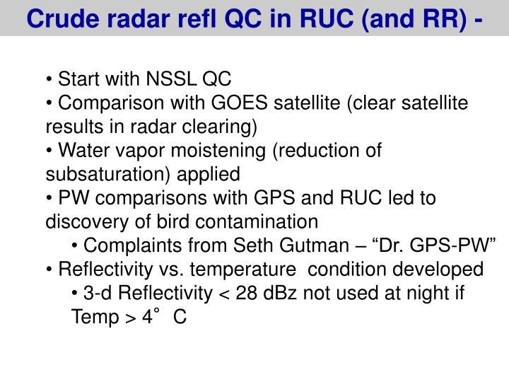Crude radar refl QC in RUC (and RR) -