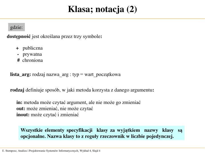 Klasa; notacja (2)