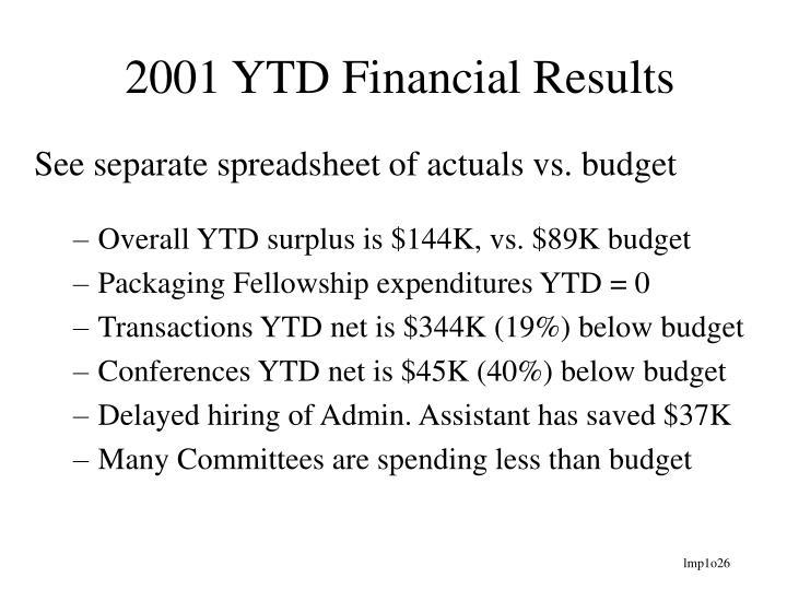 2001 YTD Financial Results