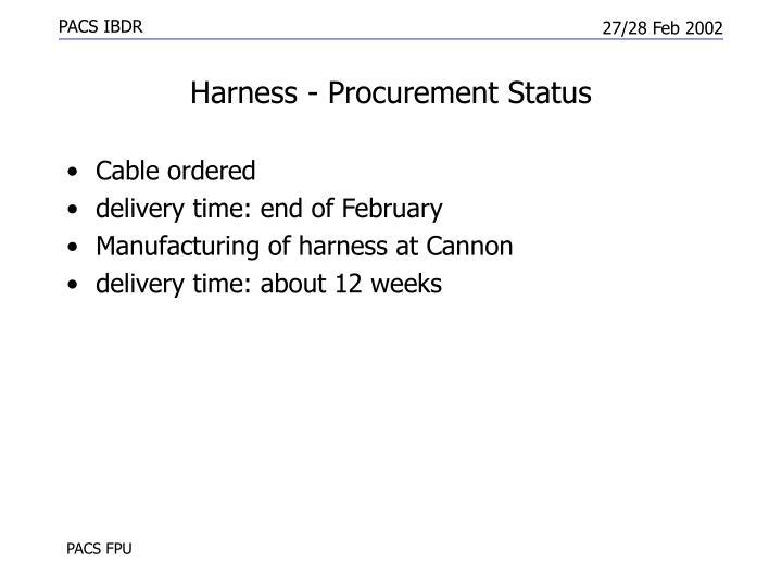 Harness - Procurement Status