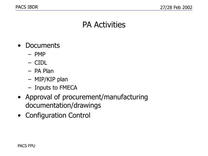 PA Activities
