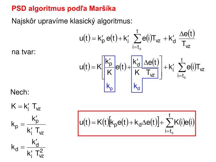 PSD algoritmus podľa Maršíka