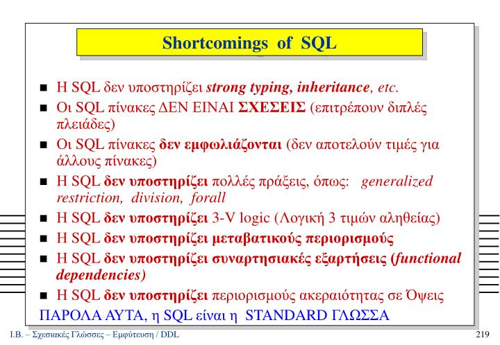 Shortcomings  of  SQL