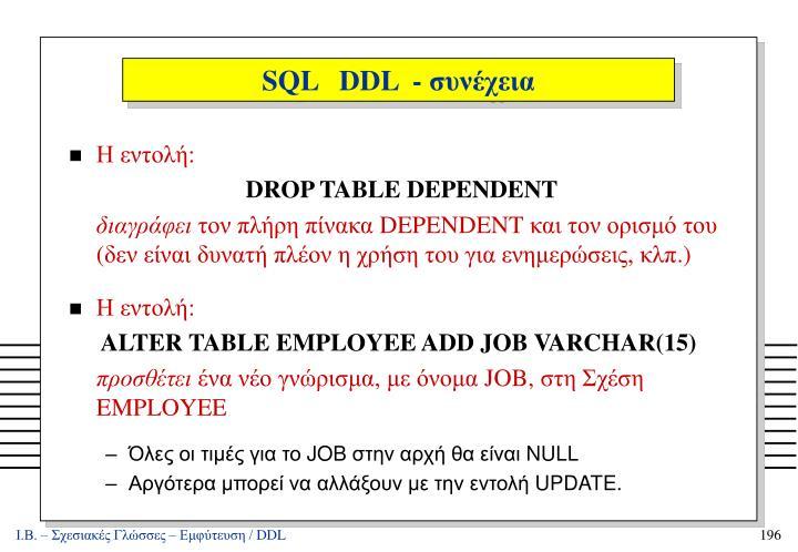 SQL   DDL  -