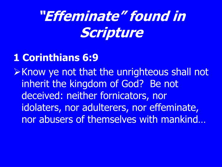 """Effeminate"" found in Scripture"