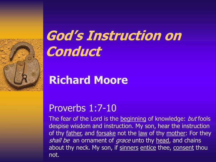 God's Instruction on Conduct