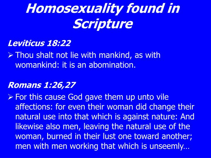 Homosexuality found in Scripture