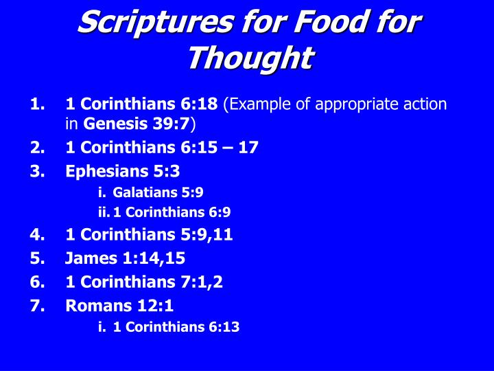 Scriptures for Food for Thought