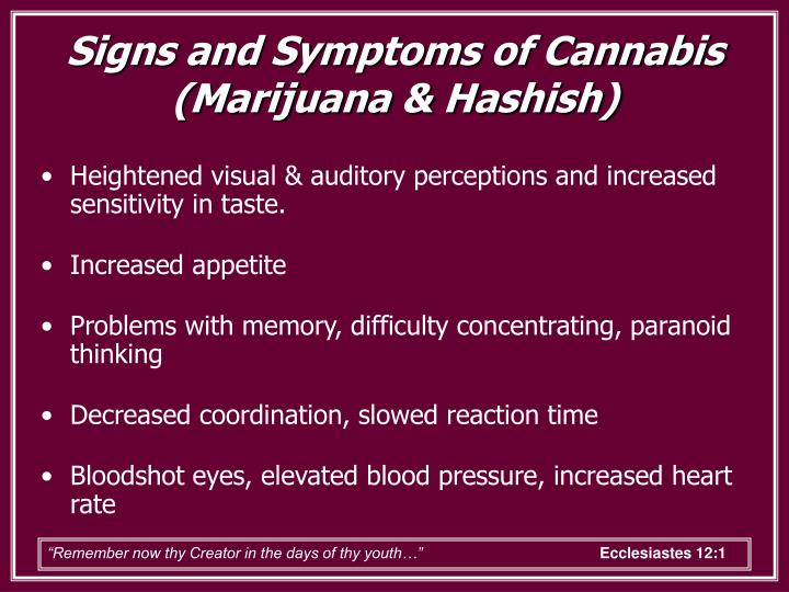 Signs and Symptoms of Cannabis