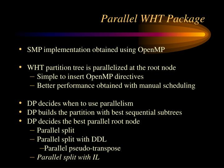 Parallel WHT Package