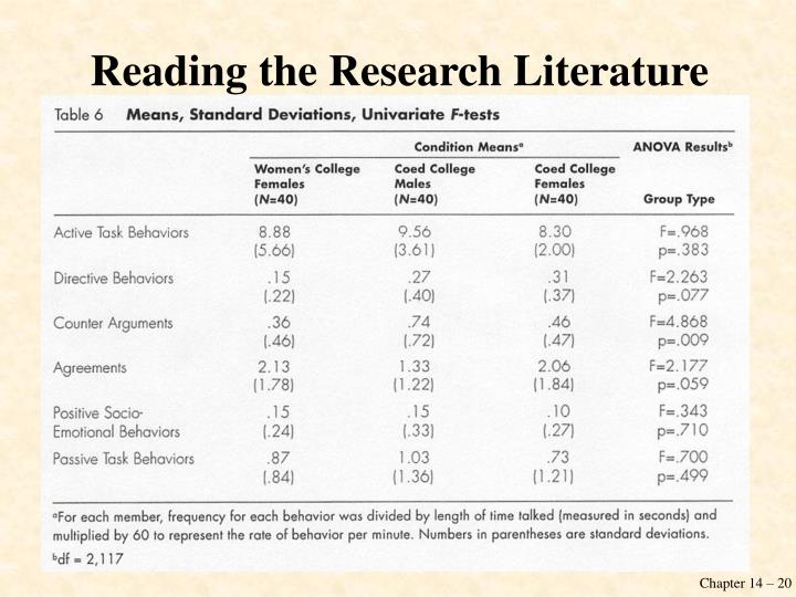 Reading the Research Literature