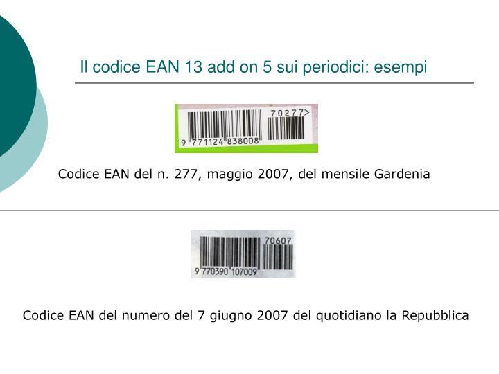 Il codice EAN 13 add on 5 sui periodici: esempi