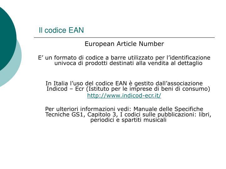 Il codice EAN