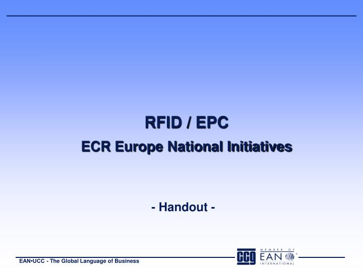 Rfid epc ecr europe national initiatives