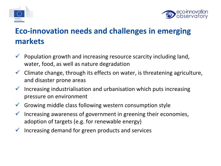 Eco-innovation needs and challenges in emerging markets