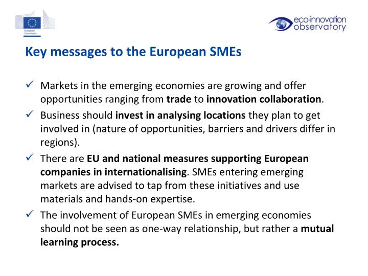 Key messages to the European SMEs