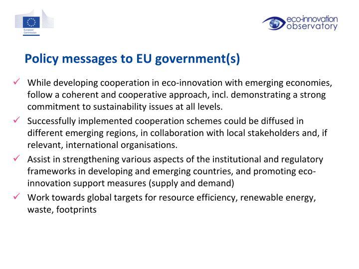 Policy messages to EU government(s)