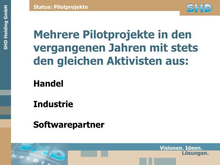 Status: Pilotprojekte