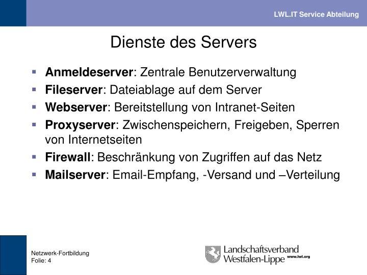 Dienste des Servers