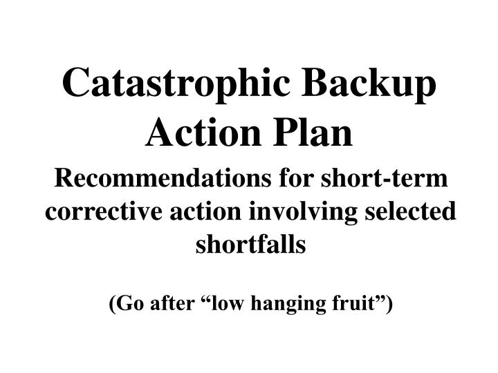 Catastrophic backup action plan