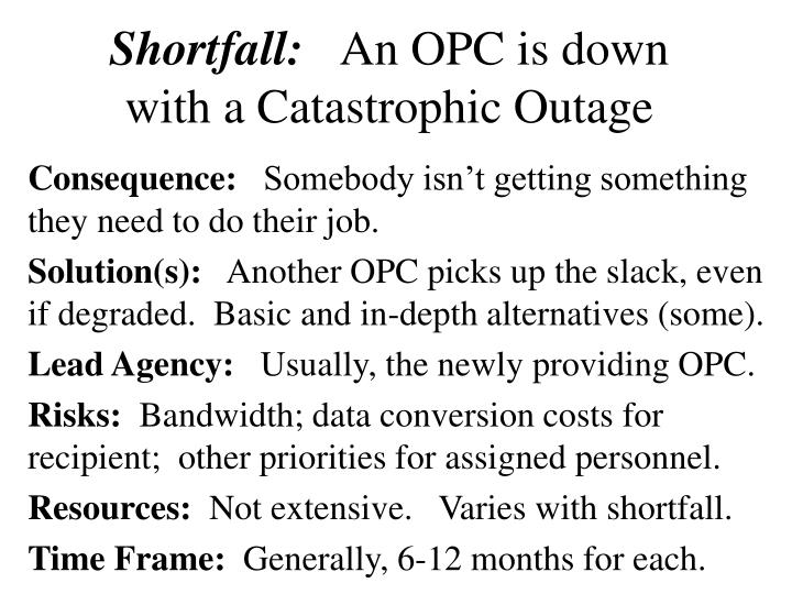 Shortfall an opc is down with a catastrophic outage