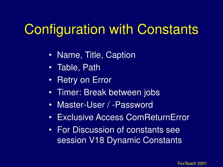 Configuration with Constants