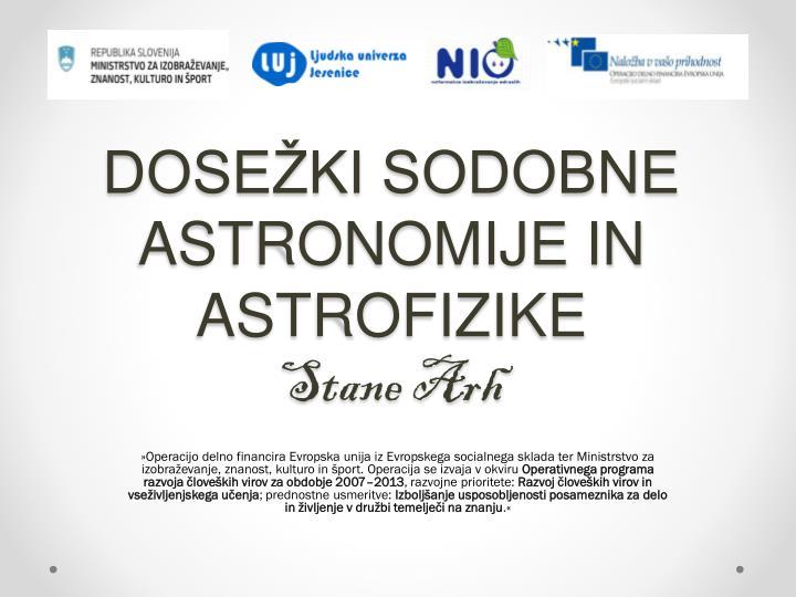 dose ki sodobne astronomije in astrofizike stane arh