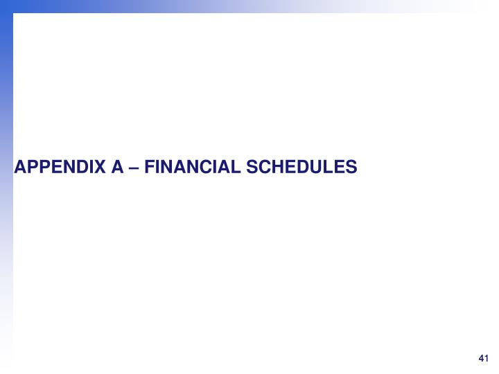 APPENDIX A – FINANCIAL SCHEDULES
