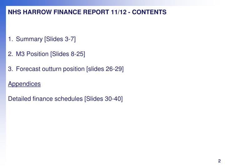NHS HARROW FINANCE REPORT 11/12 - CONTENTS