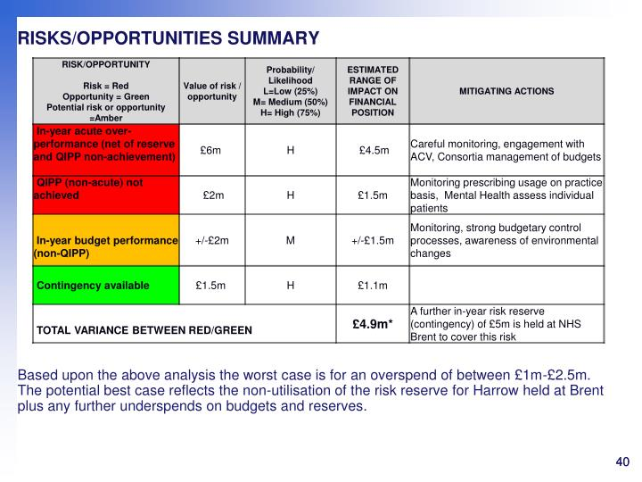 RISKS/OPPORTUNITIES SUMMARY