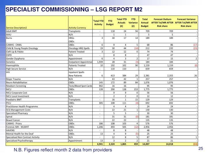 SPECIALIST COMMISSIONING – LSG REPORT M2