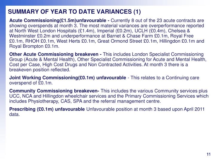 SUMMARY OF YEAR TO DATE VARIANCES