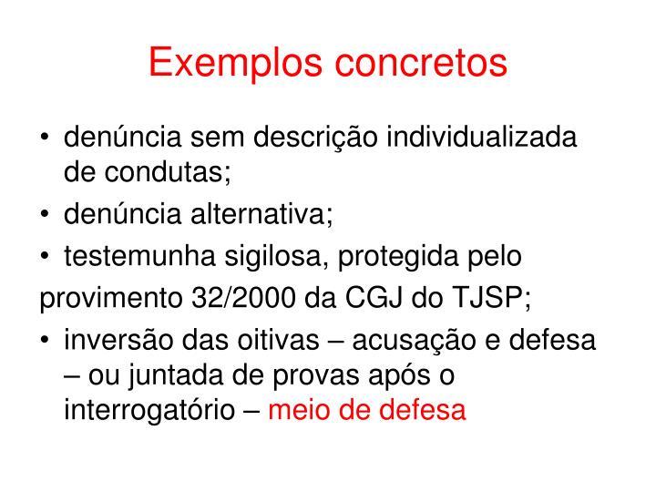 Exemplos concretos