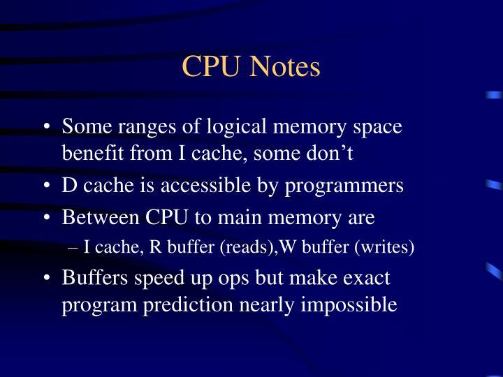 CPU Notes