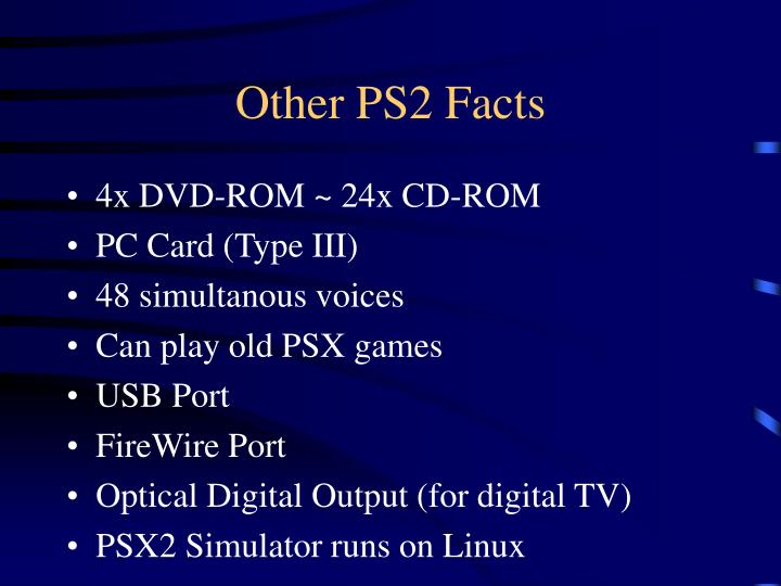 Other PS2 Facts