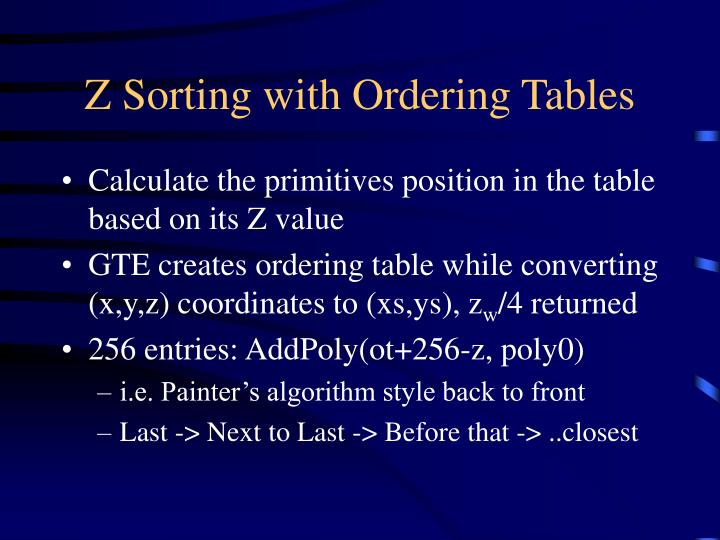 Z Sorting with Ordering Tables