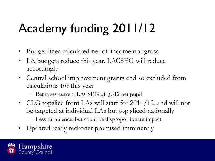 Academy funding 2011/12