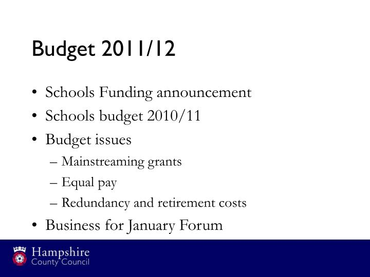 Budget 2011/12