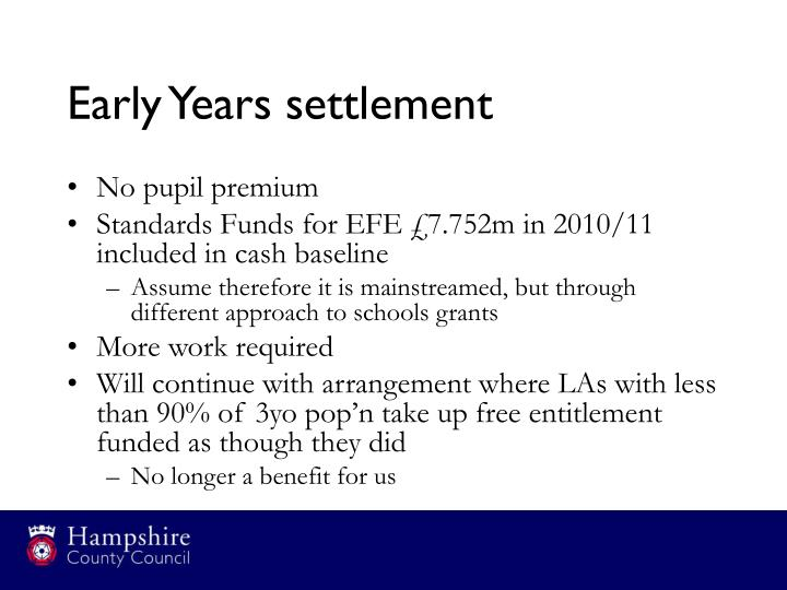 Early Years settlement