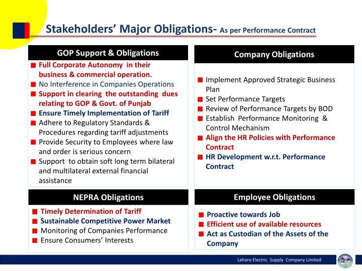 Stakeholders' Major Obligations-