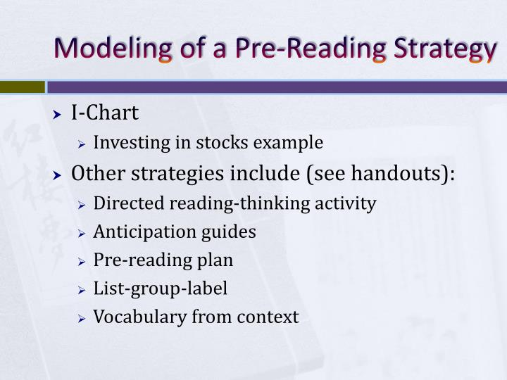 Modeling of a Pre-Reading Strategy