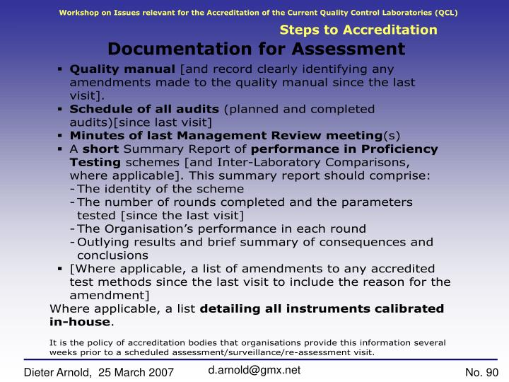 Workshop on Issues relevant for the Accreditation of the Current Quality Control Laboratories (QCL)