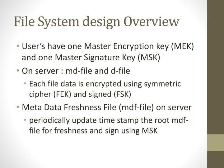 File System design Overview
