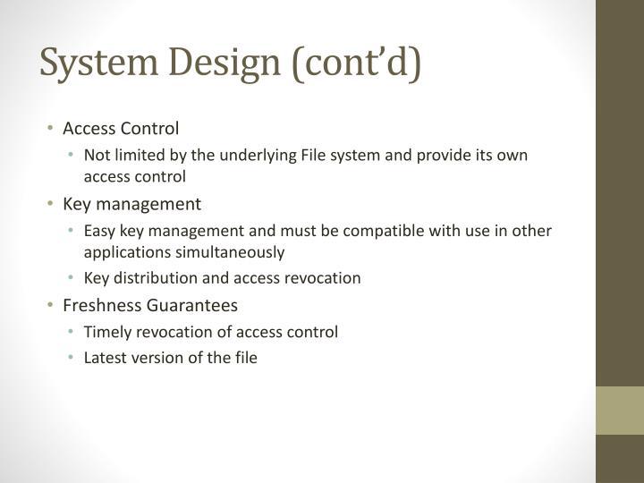 System Design (cont'd)