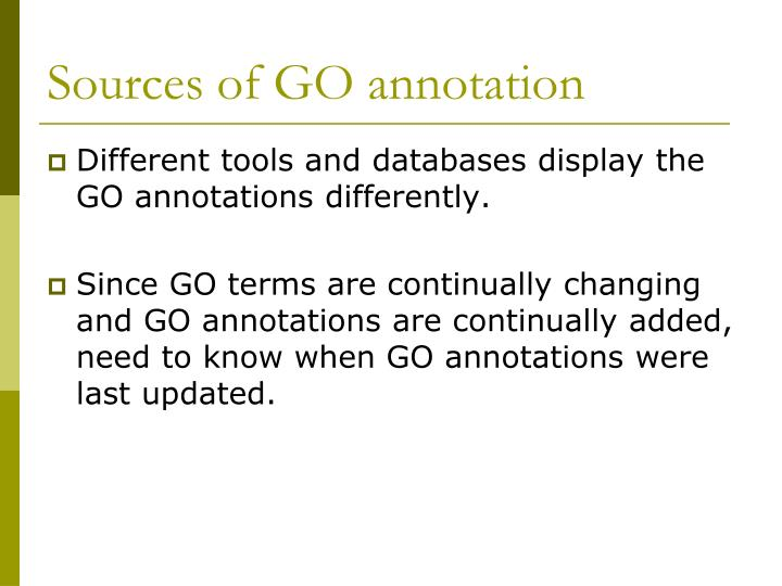 Sources of GO annotation